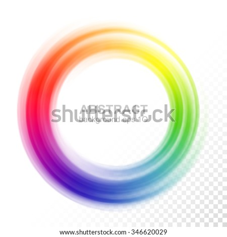 Abstract Blurry Color Wheel Transparent Colorful Swirl Circle Round Frame Or Banner With