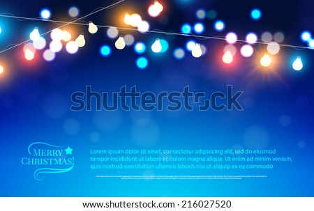 Abstract bokeh background. Christmas lights. Vector illustration - stock vector