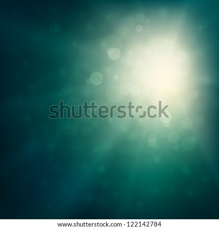 Abstract bokeh background illustration with sunbeams - stock vector
