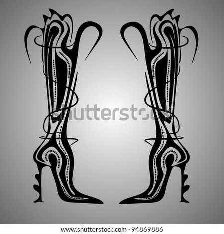 abstract boots vector - stock vector