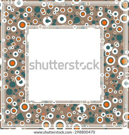 Abstract border with brown and orange dots.