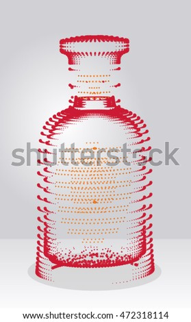Abstract bottle arranged from dots, simple art for web and print design appealing for beauty and body care theme.