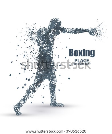 Abstract boxing from dot, particle divergent composition, vector illustration - stock vector