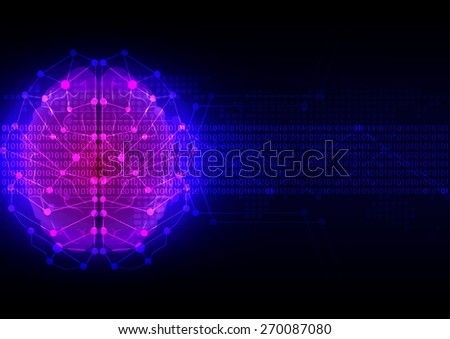 abstract brain digital technology with map dot background - stock vector