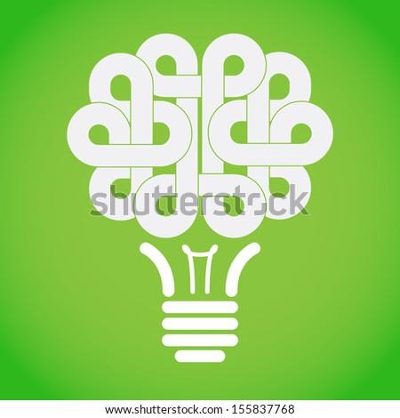 Abstract brain light bulb icon design  - stock vector
