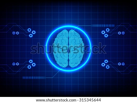 Abstract brain technology concept design background. illustration vector - stock vector