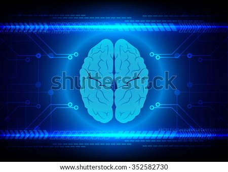 Abstract brain Technology with circuit and arrow background vector illustration - stock vector