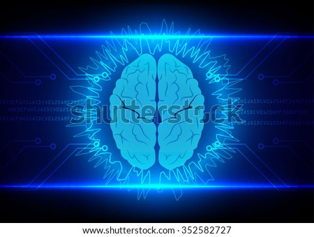 Abstract brain Technology with circuit  background vector illustration