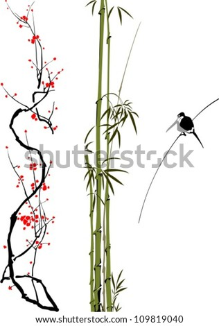 abstract branches of bamboo, cherry tree and bird isolated on the white background. - stock vector