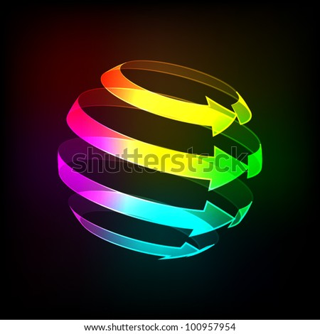 Abstract Bright arrows icon on a dark background. Vector illustration. Eps10