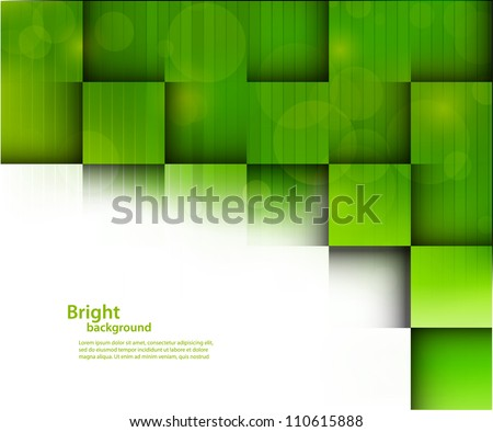 Abstract bright background with green squares - stock vector