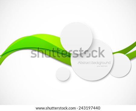 Abstract bright background with paper circles and green lines - stock vector