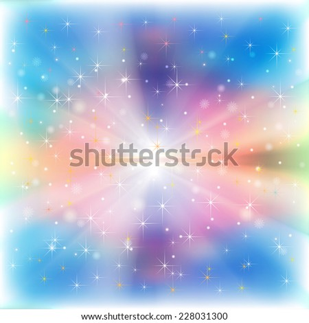 abstract bright blue Christmas background with snowflakes and stars - stock vector