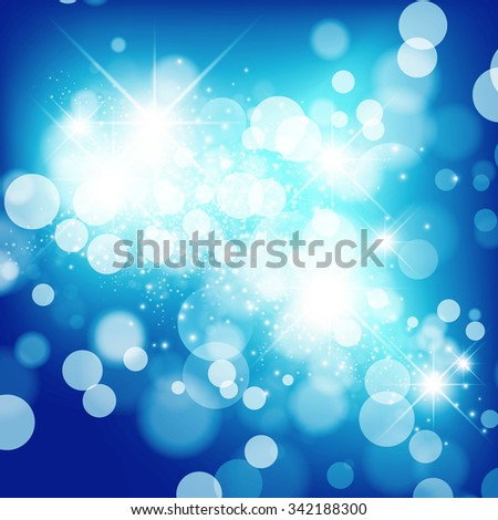 Abstract Bright Blue Christmas Holiday Star Background - stock vector