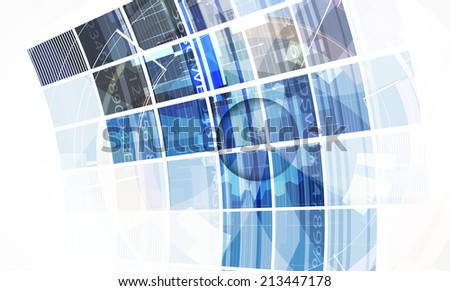 abstract bright blue cube vector technology background. computer and information strategy - stock vector