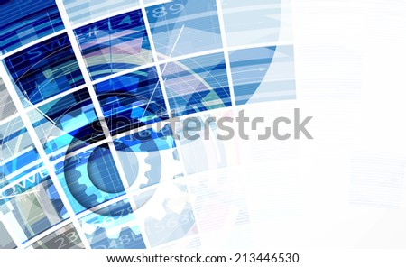 abstract bright blue cube vector technology background corporate communication and information strategy - stock vector