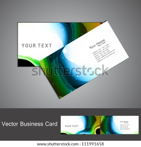 abstract bright colorful stylish wave business card set vector - stock vector