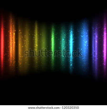 Abstract bright glowing spectrum background on black. EPS10 vector. - stock vector