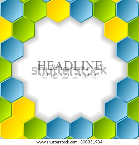 Abstract bright hexagons pattern design. Vector background - stock vector