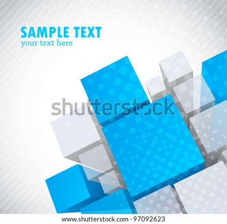 Abstract bright modern background with 3d element - stock vector