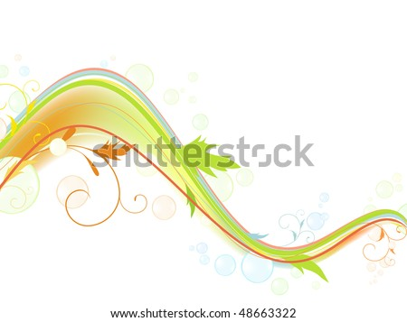 Abstract bright multicolored wave with swirls and bubblies against white background