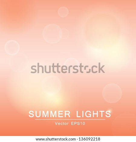 Abstract bright natural background with blurred defocused summer lights. Vector illustration. - stock vector