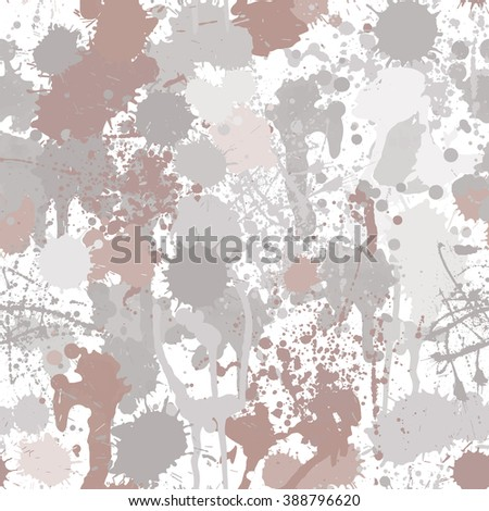 Abstract bright paint splashes vector seamless pattern. Hand drawn composition on white background for funny design. Pattern can be used for wallpapers, web page background or wrapping papers - stock vector