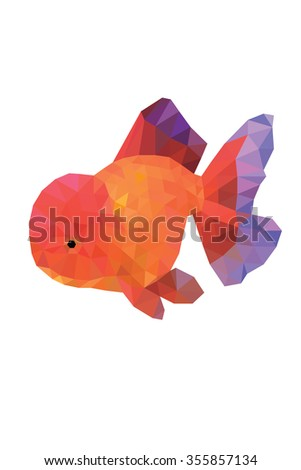 Abstract bright polygonal gold fish on white background.  - stock vector