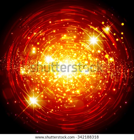 Abstract Bright Red Orange Explosion Star Background - stock vector