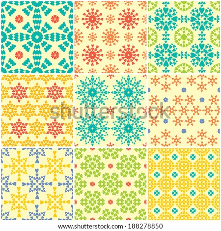 Abstract Bright Seamless Backgrounds.  9 abstract geometric patterns. - stock vector
