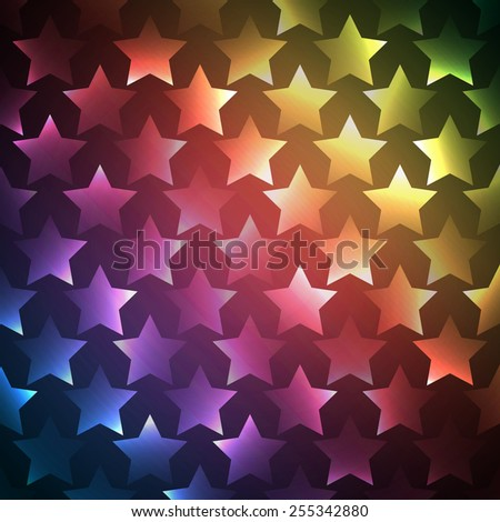 Abstract bright spectrum wallpaper. Vector illustration for modern disco design. Cool pattern background. Rainbow and black colors. Star shapes with lights and glows.