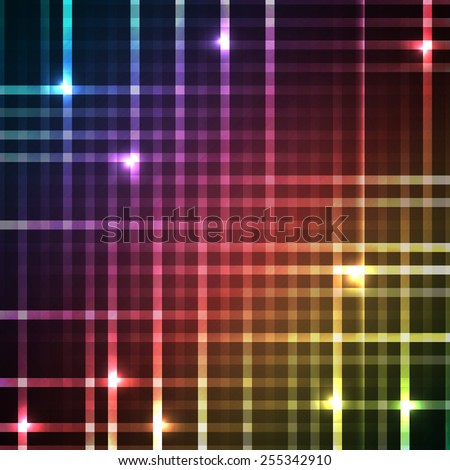Abstract bright spectrum wallpaper. Vector illustration for modern disco design. Cool pattern background. Rainbow and black colors. Line stripe with lights and glows. - stock vector