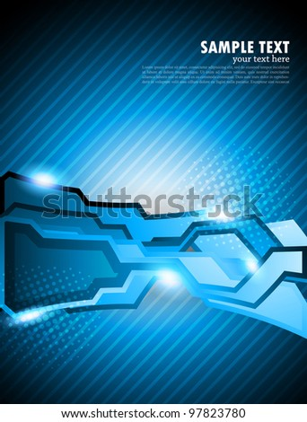 Abstract bright tech background in blue color