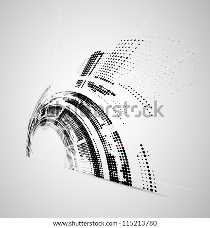 Abstract bright technology dynamic fade background - stock vector