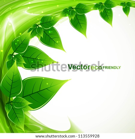 abstract bright Vector natural eco green lives swirl wave vector - stock vector