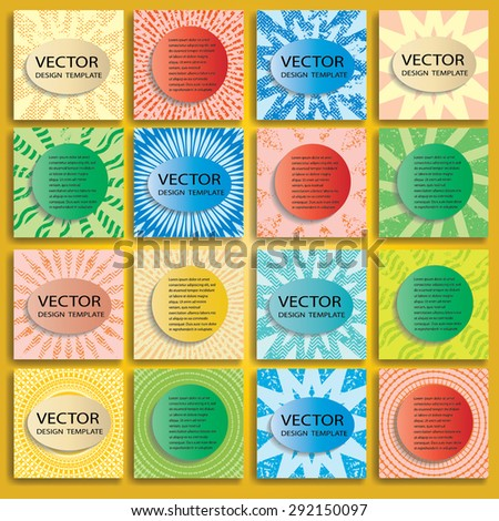 Abstract Brochure Design Collection . Vintage Set Of Colorful Patterns