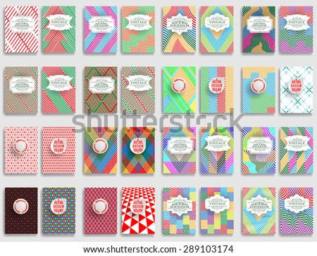 Abstract Brochure Design . Mega Vintage Set Of Different Geometrical Textured Brochures and Retro Design Elements. Retro Flyers , Banners , Posters with Dotted Textures . Colorful Patterns . - stock vector
