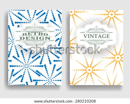 Abstract Brochure Design . Vintage Set Of Different Geometrical Textured Brochures and Retro Design Elements. Retro Flyers , Banners , Posters with Dotted Textures . Colorful Patterns . - stock vector