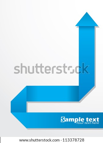 Abstract brochure design with folded blue origami arrow - stock vector