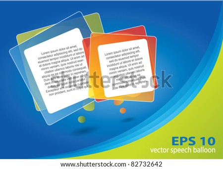 Abstract brochure design with rectangular speech balloons and area for text - stock vector