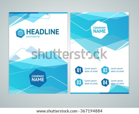 Abstract Brochure Flyer Design Template with Blue Geometric Background. Vector illustration - stock vector