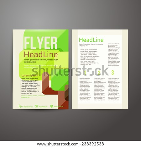 Abstract  Brochure Flyer design template with trees..  vector illustration - stock vector