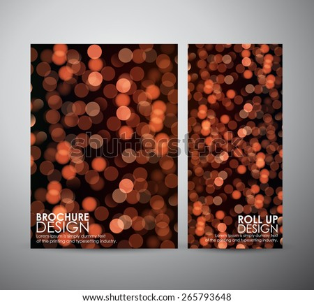 Abstract brochure orange bokeh light. business design template or roll up. Vector illustration - stock vector