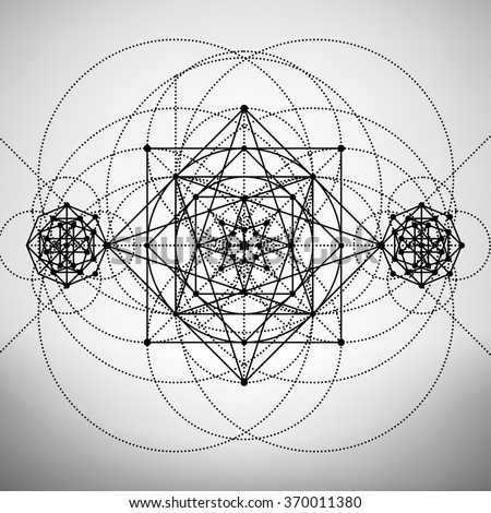 Abstract brochure template with sacred geometry drawing, Vector illustration.