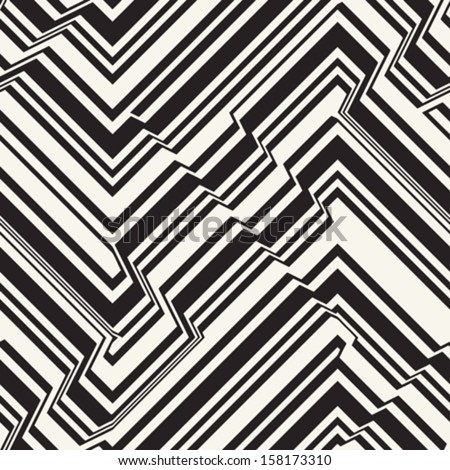 Abstract  broken striped textured geometric seamless pattern. Vector. - stock vector