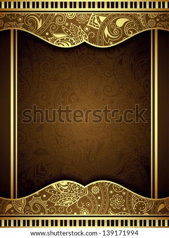Abstract Brown and Gold Floral Frame Background