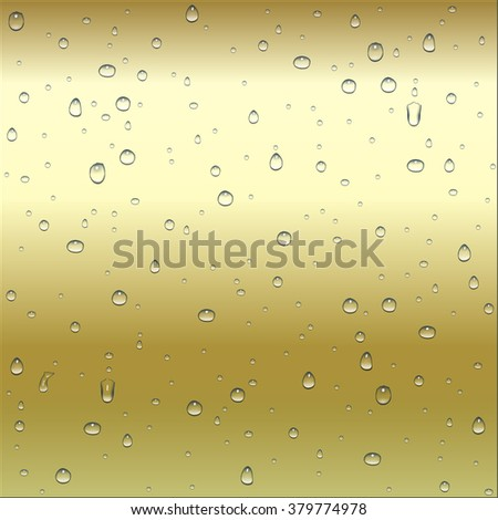 Abstract brown and yellow metal ( gold, bronze ) gradient background with clear water drops texture, vector illustration - stock vector