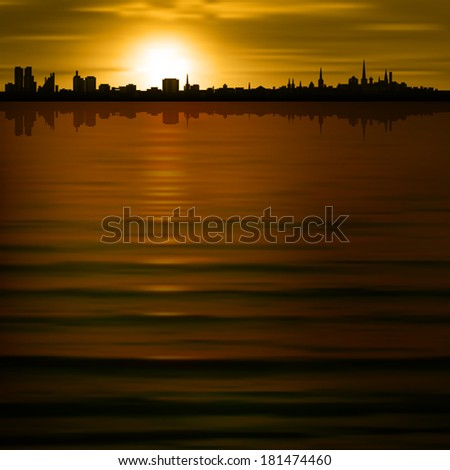abstract brown background with silhouette of city - stock vector