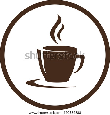 abstract brown coffee cup with smoke in round frame - stock vector