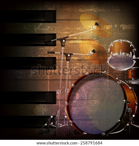 abstract brown grunge music background with drum kit - stock vector